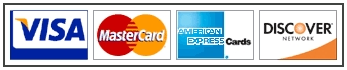 We Accept Visa, Mastercard, Discove and American Express